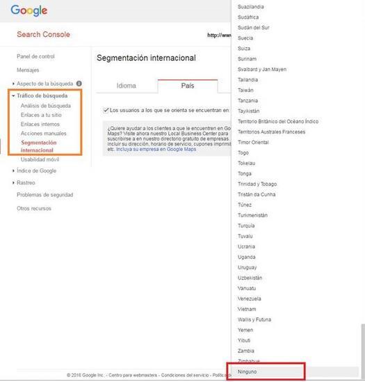 seo estrategia internacional configuracion search console