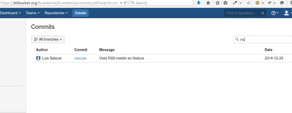 Vista RSS en bitbucket